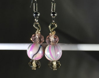 Pink and Grey Swirls with Pink and grey crystals. French Hook.