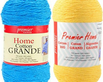 Premier Yarns-Home Cotton Grande Yarn-Solid Turquoise or Yellow Ball 14oz (400g)