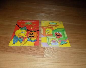 Sesame Street Vintage Coloring Book Golden Book 1991 Unused Cookie Monster Elmo Ernie Bert Big Bird Lot 2 Activity mini boxes