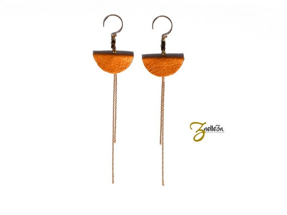 """Earrings mustard yellow leather and gold 14K - Chic graphic Pop Acidule - model CANCUN """"Mexico Collection"""""""