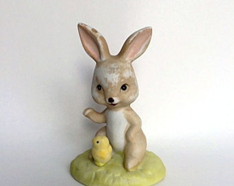 Bunny Rabbit and Baby Chick on Grass Figurine