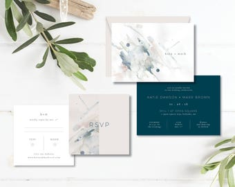 Printable Wedding Invitation Suite | Wedding Invitation + RSVP card |  Watercolor art, navy, blush, minimalist, modern  | contemporary