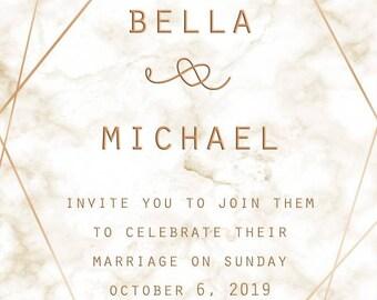 Wedding Invitation Marble Geometric Rosegold Customizable