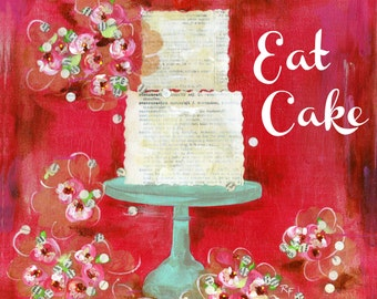 EAT CAKE art print, Cake art, Kitchen art, Gift art, Red kitchen, Red wall art, kitchen decor