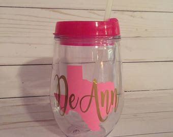 Bev2Go Tumbler, Personalized Stemless Wineglass with Lid, Monogrammed Stemless Wineglass, State Stemless Wine with Lid, Wine Tumbler