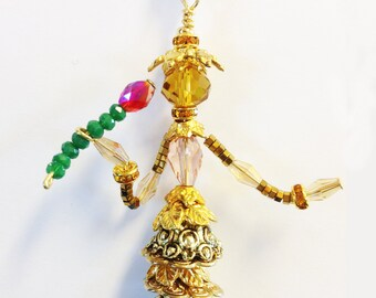 Whimsical jewelry people, Wearable Art, bead people, Beauty and The Beast,  Tiny Belle - Rose