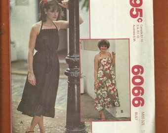 1978  McCalls 6066 Sun Dress with Halter Strap and Ruffled Tier Hemline Size 10/12 Small UNCUT