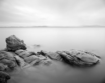 Puget Sound  Rocky Coast Washington Landscapes, Black and White Print in a Mat