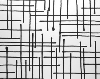 """14 x 14 Original Hand Painted Modern Abstract Black and White Ink Painting """" Ligne 1446"""""""