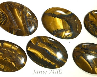Tiger Eye Hematite 25x35 mm Cabochon