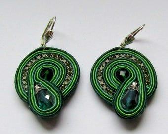 Soutache Earrings Tiny Green
