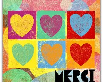 Hand-cut Merci card 15cm x 15cm with envelope. Thank you Thanks