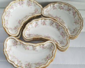 Limoges Theodore Haviland Double Gold Schleiger Bone Dish Set Of 12