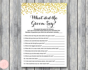 Gold What did the Groom Say Game, What did groom say about Bride, How well couple know each other, Couples shower Game TH22