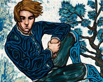 """Large giclee print - handsome reclined man with brown windblown hair - 16"""" x 20"""" or 11"""" x 14"""""""