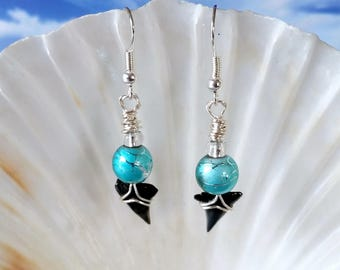Shark tooth silver wire wrapped earrings with turquoise glass beads fossil beach earring
