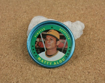 1971 TOPPS Coin No. 47 - Matty Alou - Outfield - Pittsburgh Pirates - Vintage Baseball Token