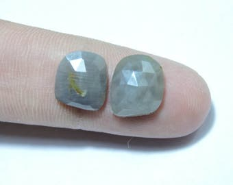 2 Pieces Beautiful Natural Sapphire Faceted Rose Cut Fancy Shaped Loose Gemstone Size 11X10 MM