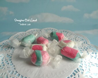 Fake Candy Faux Set of Pastel Salt Water Taffy Pink Aqua Wrapped Kitchen Easter Bowl Fillers Display Food Prop Decor Party Wedding Favor
