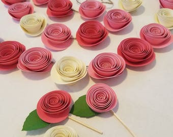 rose cupcake toppers, paper rose garland,Mother's day cupcakes, cupcake toppers, garden party, tea party, desert table, cupcake picks
