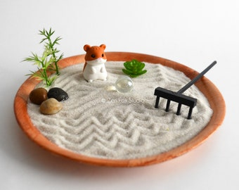 Mini Zen Garden // Kawaii Hamster Animal Fairy Garden // Sand Garden // DIY Kit Fidget Toy // Gifts Under 20 // Cubicle Decor Coworker Gift