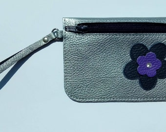 Leather Coin Purse, Children's Coin Purse, Hand Made Silver Coloured Leather Purse, Leather Change Purse, Change Pouch, Wristlet Purse
