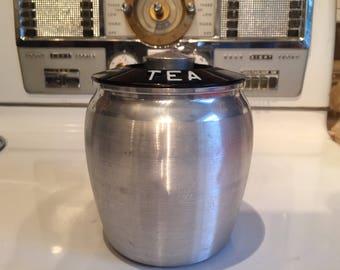Vintage 1950s Kromex Spun Aluminum canister / kitchen storage