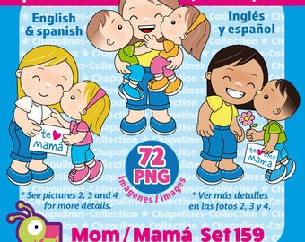 Mom Clipart, Mother's day, Mamá, Día de las Madres, Kisses, PNG illustrations, son and daughter, Set 159