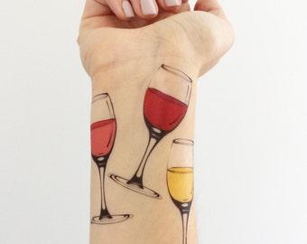 Wine Glass Temporary Tattoos