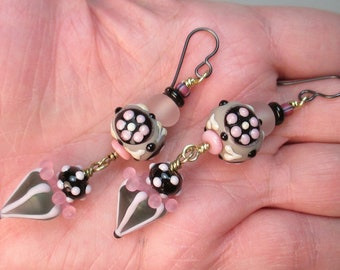 Poodle Skirt Earrings with 3 Matched Pairs of Handmade Lampwork Glass Beads + Headpins by Patti Cahill