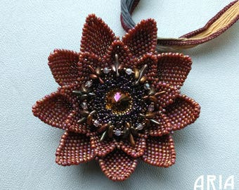 LOTUS BLOSSOM PENDANT Kit:  Rainbow Burnt Orange Colorway - From Bead and Button Magazine June 2017