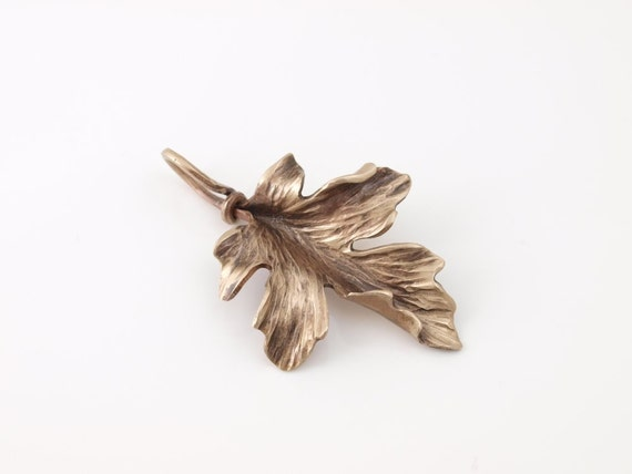 Hand forged Bronze Maple Leaf pendant - made to order
