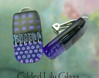 Cobalt Dichroic Glass Clip Earrings, Handmade Fused Glass Jewelry from North Carolina