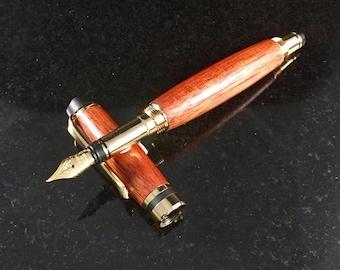 Bloodwood Fountain Pen, executive pen, bloodwood pen, fountain pen, fine writing instrument, handmade pen, wood pen, handcrafted,screw top