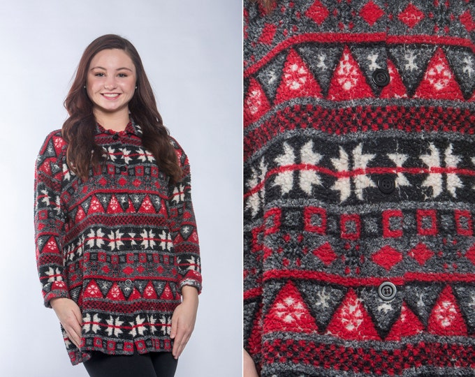 Small Vintage Fair Isle Fleece | Red Gray White Winter Pattern | Cozy Pullover MEDIUM to LARGE 16W