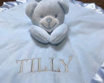 Soft Touch Personalised Baby Comforter Bear Boys & Girls Custom Bespoke Gift, Customised Comforter, Baby Gifts, Baby Shower gifts, baby gift