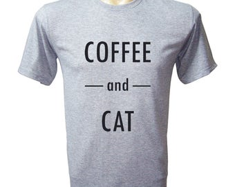Coffee And Cat Shirt - Cat Tee - Cat Tshirt - Mens Tshirt - Cat Shirt - Cat Gifts - Cat Lover Gift - Cat Lover - Lazy Shirt - Chill Shirt