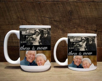 Mug, anniversary gift, anniversary, anniversary mug, Anniversary mug, custom mug, custom coffee mug, custom mugs, then and now
