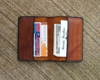New Old Stock brown leather bifold money holder stitched design business card holder