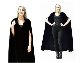 Vintage Black Velvet Cape Cloak Cape Poncho Opera Coat Cape Black Full Length Cape Cloak Renaissance Victorian Medieval Goth Cape