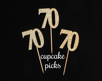 70th Birthday Cupcake Toppers, 70th Birthday Cupcake Picks, 70th Birthday Party Decorations, 70th Birthday