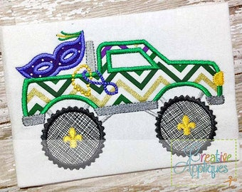 Mardi Gras Mask Monster Truck  Applique, Mardi Gras Mask Truck, Mardi Gras Boy Tee, Mardi Gras Shirt Boy