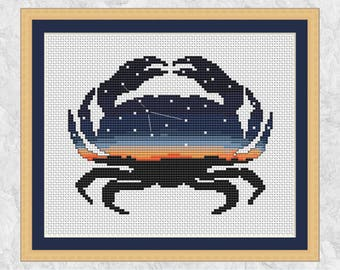 Cancer crab zodiac cross stitch pattern, printable astronomy design, modern astrology gift, space chart, sea life, nature, silhouette PDF