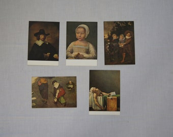 Vintage 1970's  -  Blank - Belgium Arts Postcards, Set of 5 -