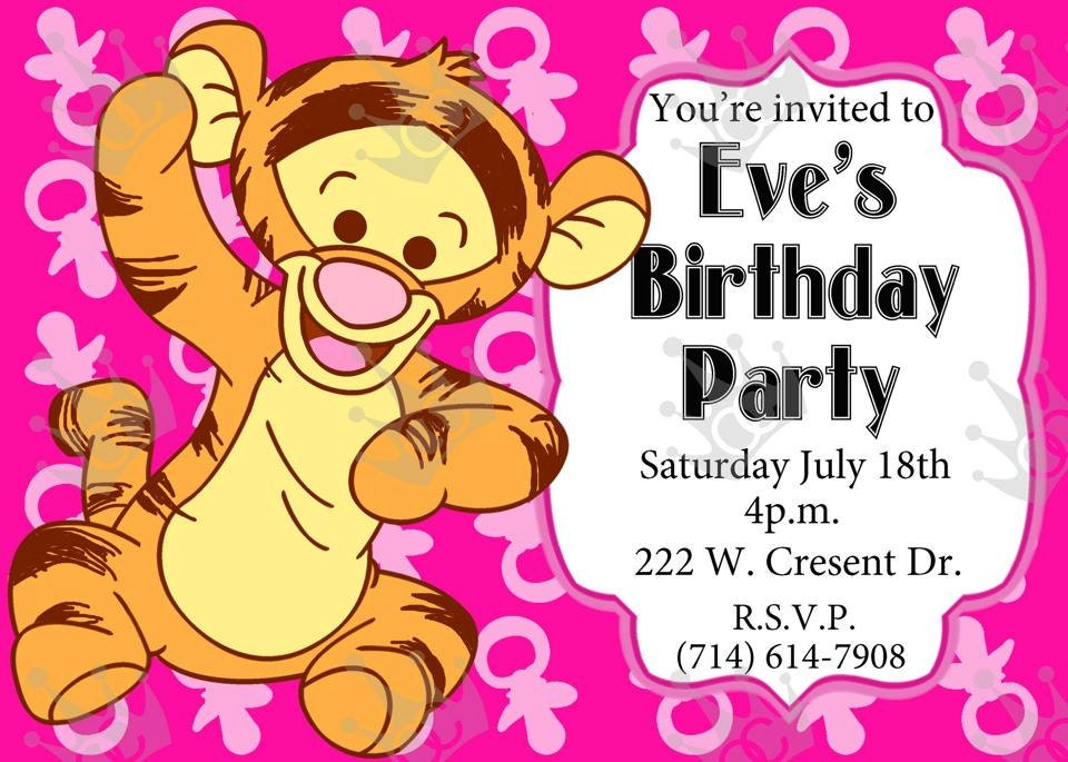 Baby Tiger Birthday Party Invitation Print Home DIY