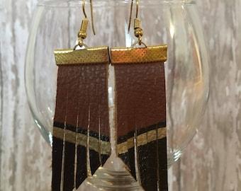 Fringe Color Block Leather Earrings