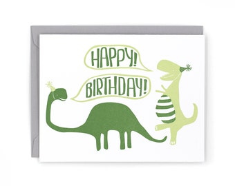 Dinosaur Birthday Letterpress Card