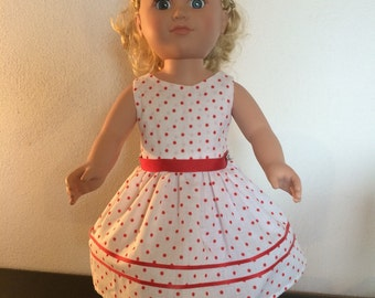 18 inch White/ Red Polka Dot Dress for My Life Doll!