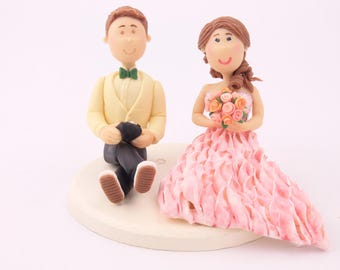 Gamer groom - Pink dress bride. Handmade. Fully customizable. Small Wedding cake topper or centerpiece.