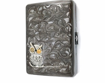 Mechanical Owl Metal Cigarette Case Inlaid in Hand Painted Enamel Gray Swirl Design Steampunk Gear and Cog Metal Wallet Personalized Options
